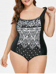 Plus Size Snowflake Print Swimsuit -