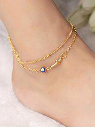Layered Chain Crucifix Eye Anklet -