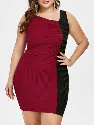 Plus Size Two Tone Skew Collar Bodycon Dress -