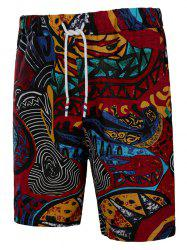 Ethnic Abstract Print Pockets Beach Bermuda Shorts -