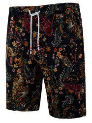 Drawstring Ethnic Flower Paisley Print Beach Bermuda Shorts -