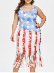 Plus Size American Flag Fringed Dress -