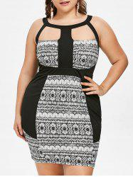 Plus Size Tribal Print Cutout Fitted Dress -
