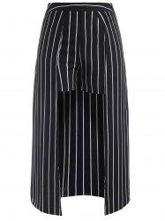 Striped Shorts with Maxi Skirt Overlay -