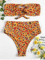 Strapless High Rise Sunflower Swimsuit -