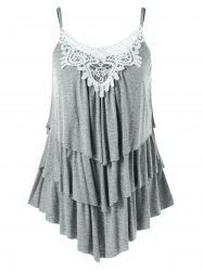 Multi Layered Lace Insert Cami Tank Top -