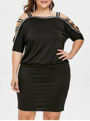 Plus Size Cutout Batwing Sleeve Blouson Dress -