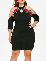 Plus Size Floral Applique Cold Shoulder Dress -