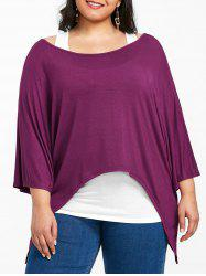 Plus Size Batwing Sleeve Asymmetrical Tee With Tank Top -
