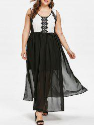 Plus Size Lace Trim Two Tone Maxi Dress -