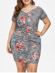 Plus Size Houndstooth Floral Ruched Dress -