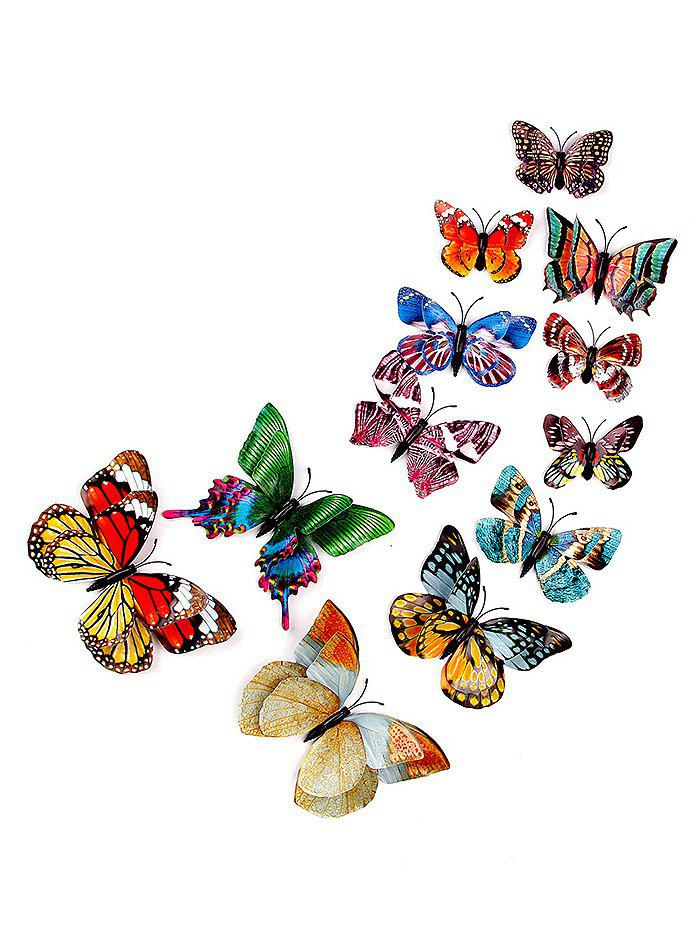 Fashion 12 Pcs Luminous Double Layer 3D Butterfly Wall Art Stickers