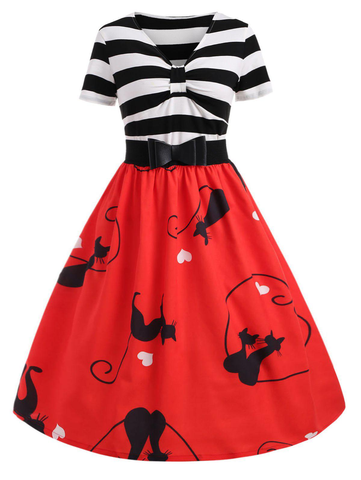 Outfit Cats Print Midi Retro Dress with Belt