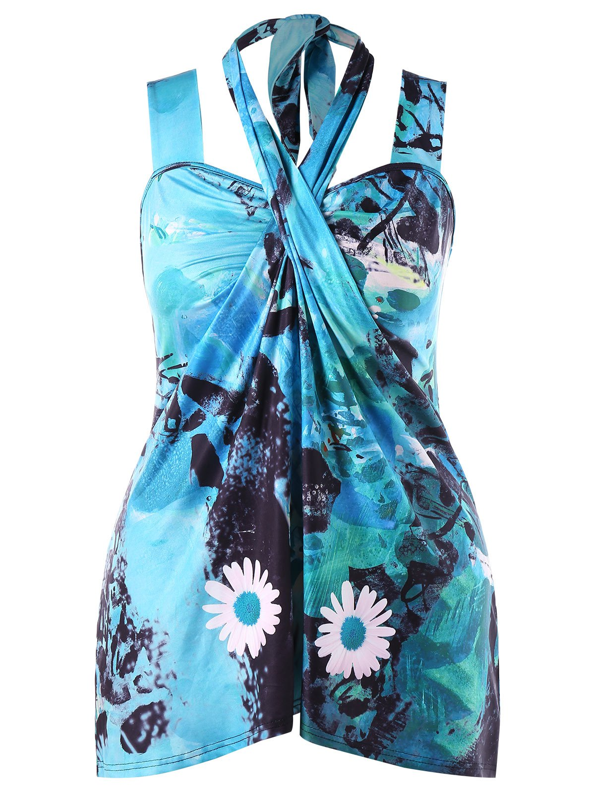 Plus Size Hawaiian Halter Tank Top