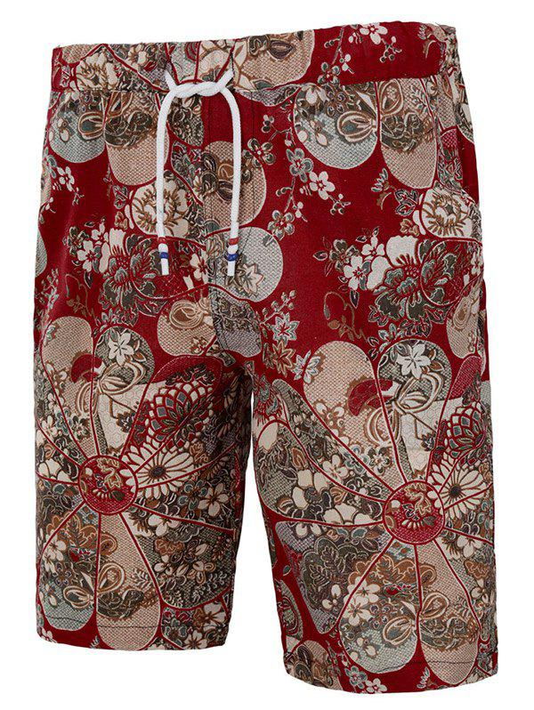 Hot Drawstring All Over Flower Print Ethnic Bermuda Shorts