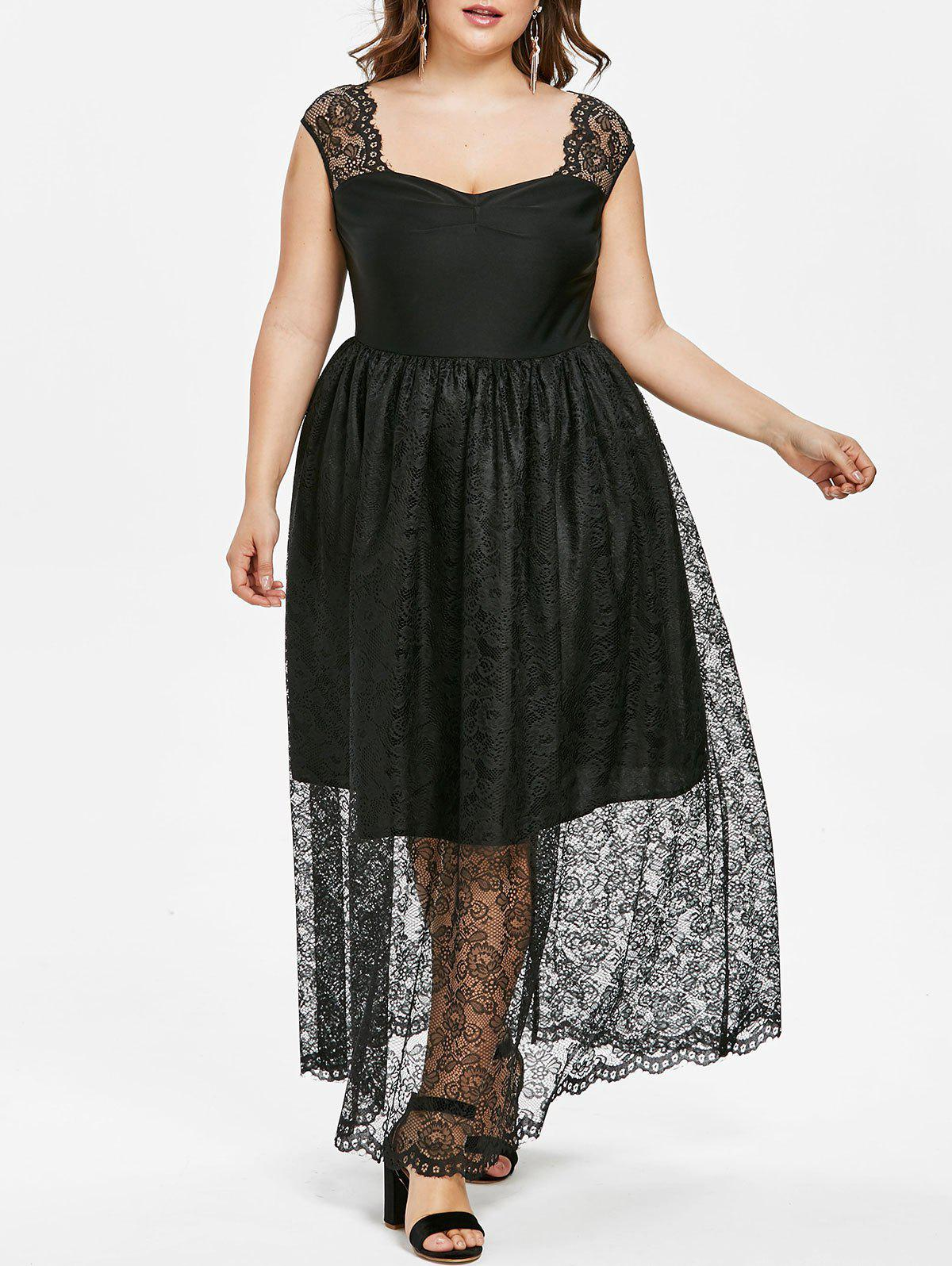 Shops Plus Size Lace Insert Sweetheart Dress