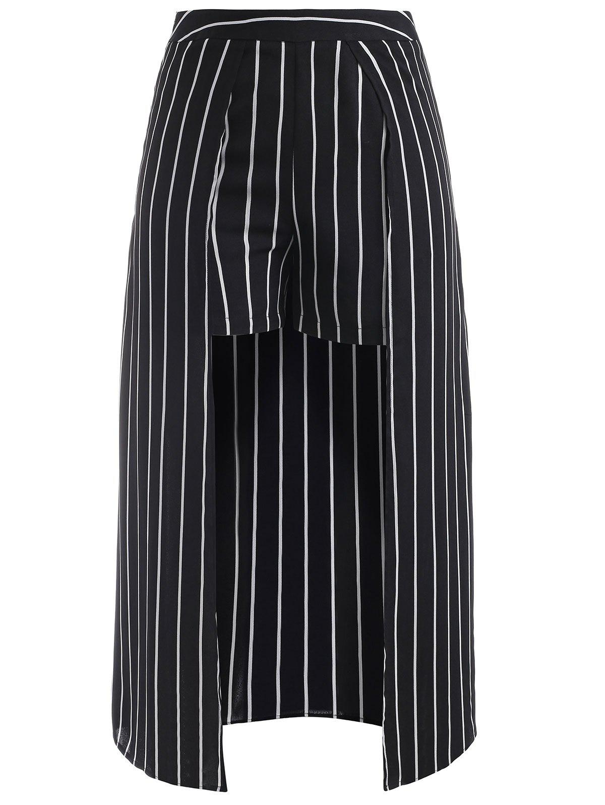 Discount Striped Shorts with Maxi Skirt Overlay