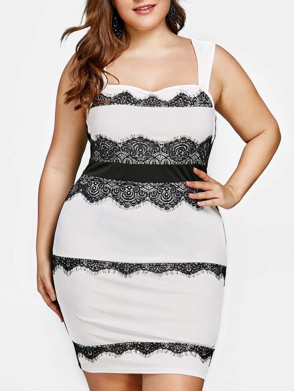 Best Plus Size Lace Trim Square Neck Fitted Dress