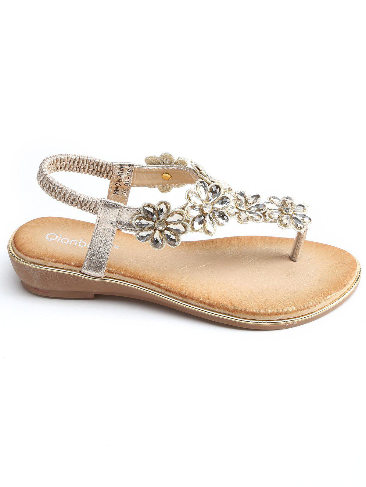 Sale T Strap Faux Crystal Floral PU Leather Sandals