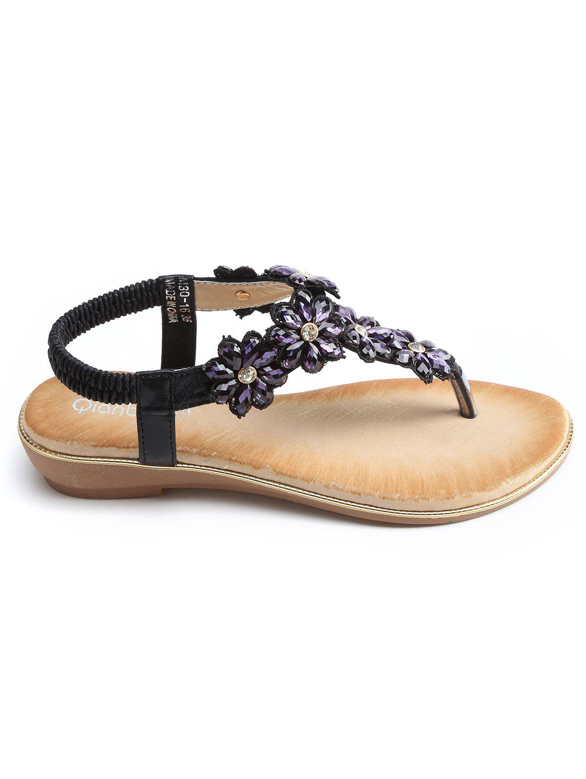 Latest T Strap Faux Crystal Floral PU Leather Sandals