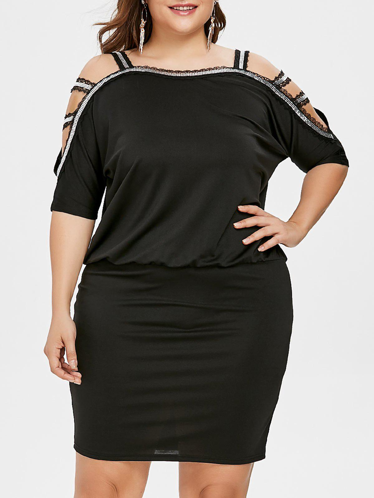 Shop Plus Size Cutout Batwing Sleeve Blouson Dress