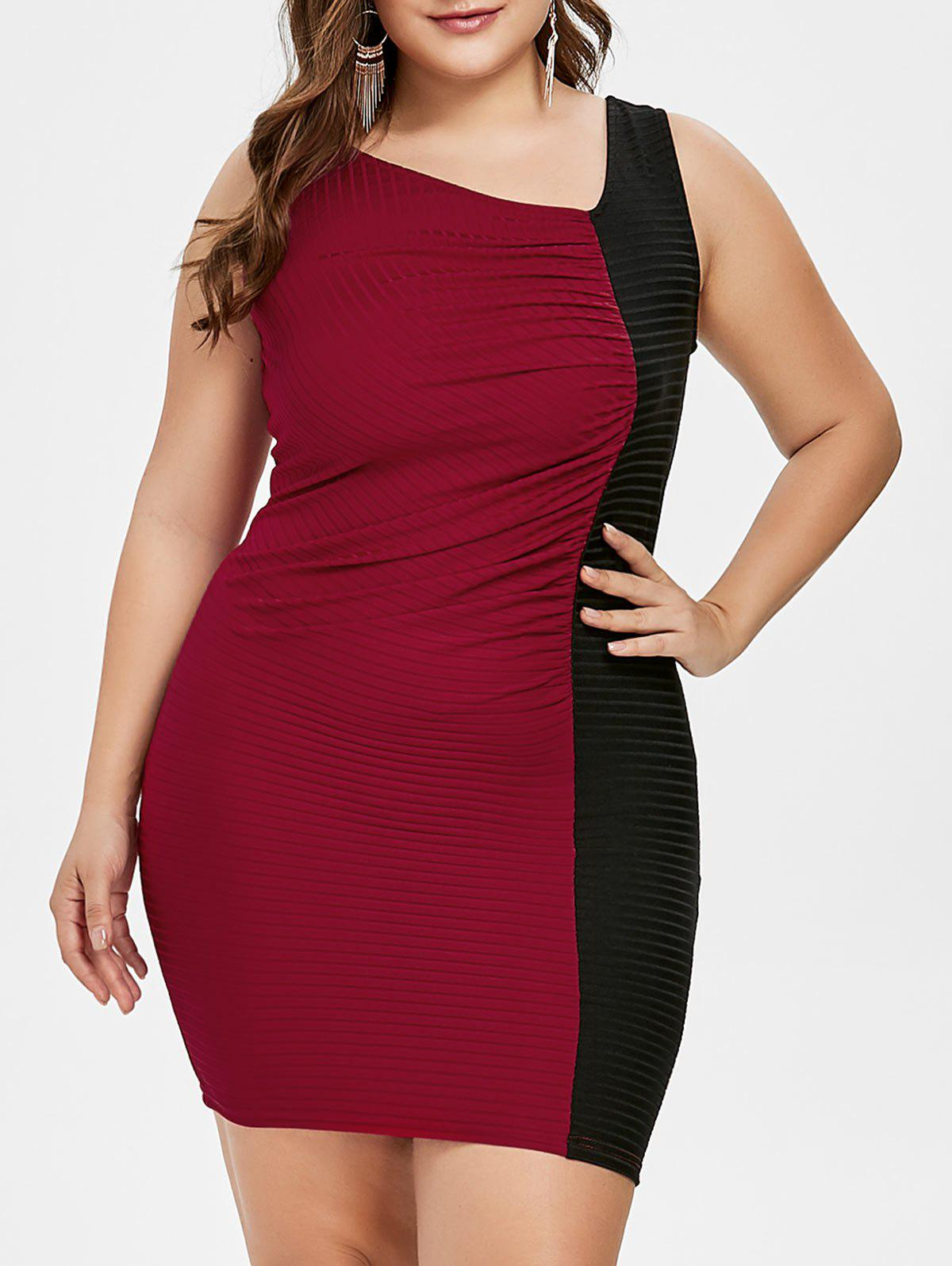 Latest Plus Size Two Tone Skew Collar Bodycon Dress