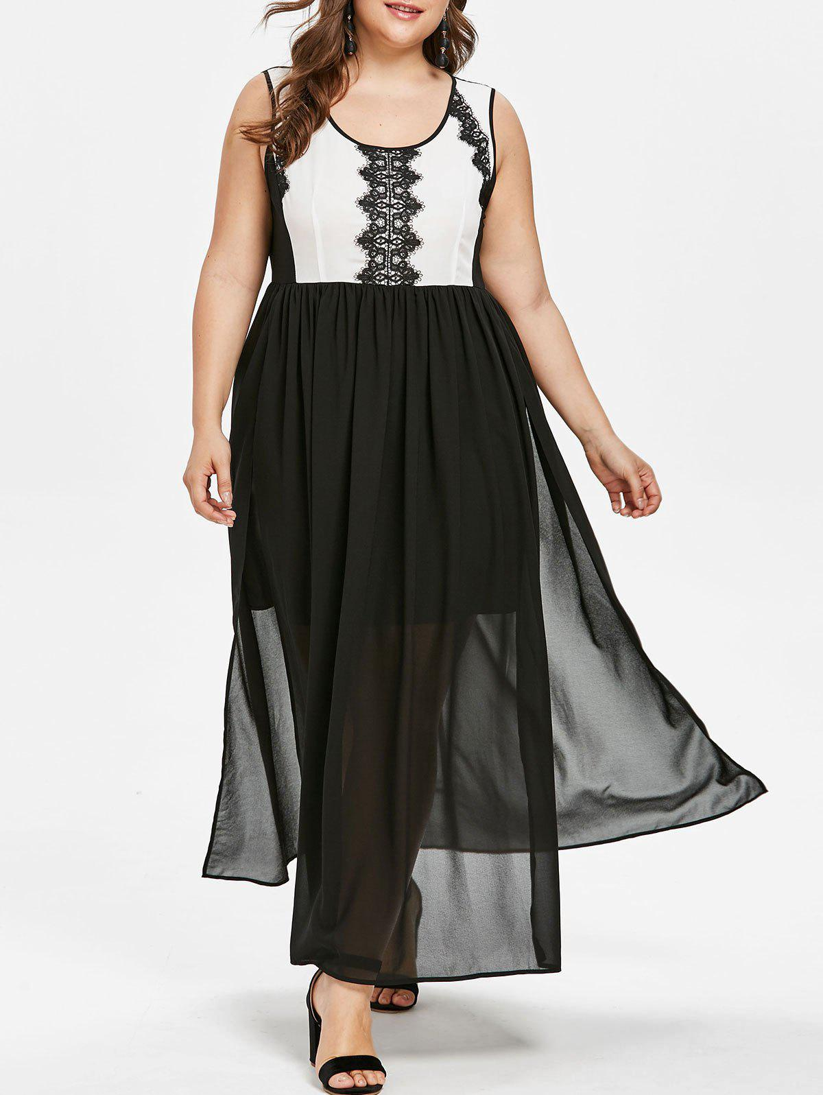 Shop Plus Size Lace Trim Two Tone Maxi Dress