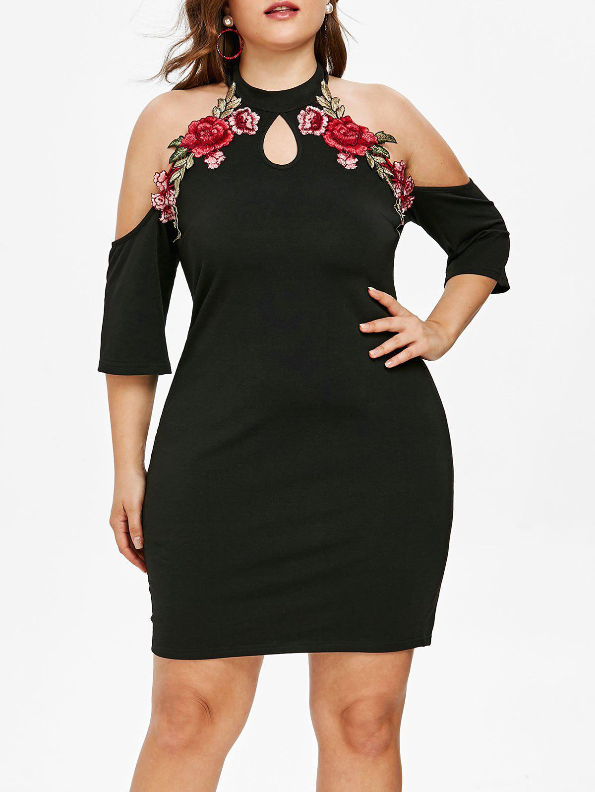 c61d0d0dead 2019 Plus Size Floral Applique Cold Shoulder Dress