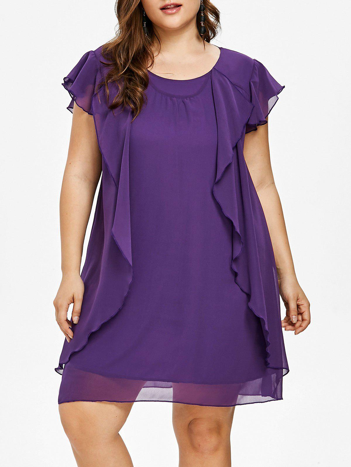 Affordable Plus Size Ruffle Tunic Dress