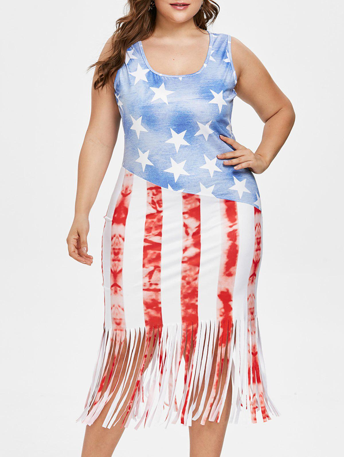Store Plus Size American Flag Fringed Dress