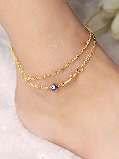 Store Layered Chain Crucifix Eye Anklet