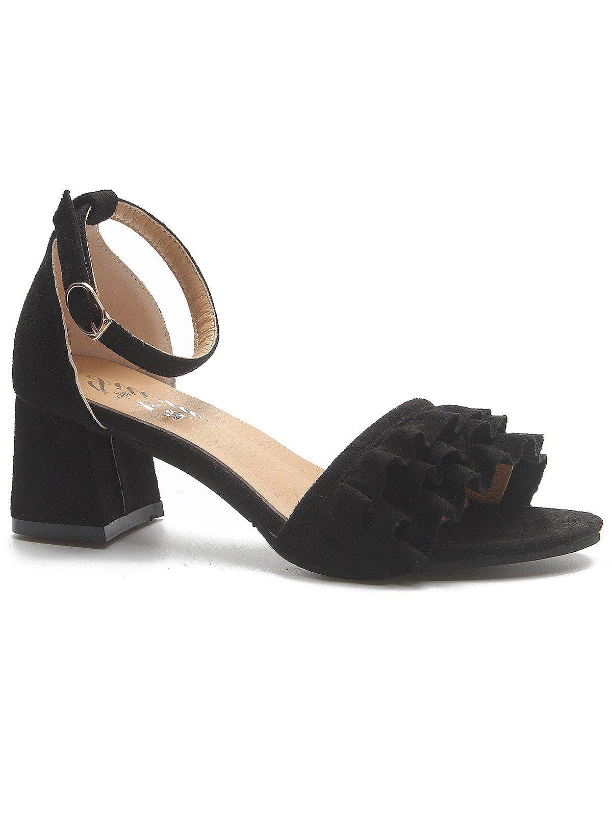 Unique Ruffle Ankle Strap Chunky Heel Pumps