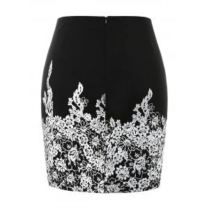 Plus Size High Waist Floral Print Skirt -