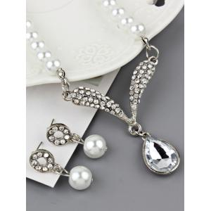 Faux Pearl Rhinestoned Teardrop Wedding Jewelry Set -