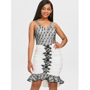 Lace Panel High Low Hem Bodycon Dress -