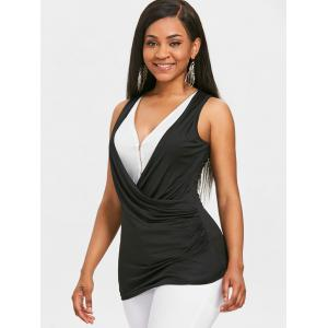 Half Zipper Faux Wrap Tank Top -