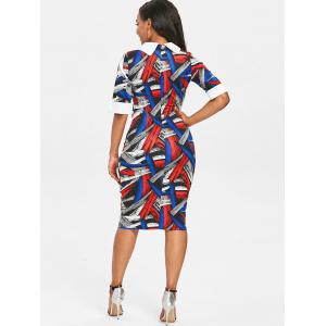 Painting Color Block Bodycon Dress -