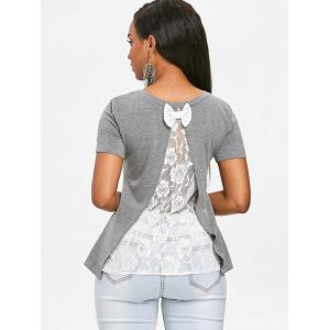 See Through Rose Lace Back T-shirt -