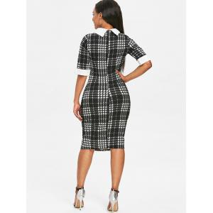 Asymmetrical Neck Houndstooth Print Knee Length Dress -