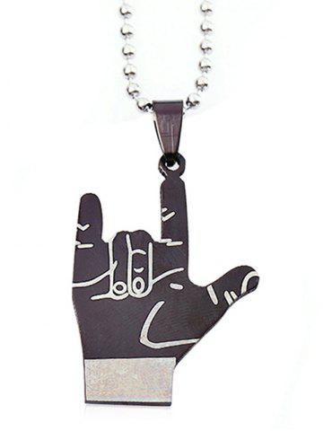 Chic Victory Gesture Bead Chain Pendant Necklace