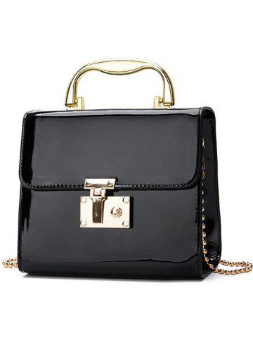 Outfit Patent Leather Metal Handel Chain Crossbody Bag