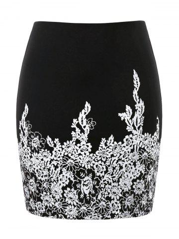Fancy Plus Size High Waist Floral Print Skirt