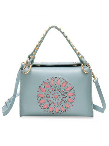 Trendy Laser Cut Out Studded Handbag