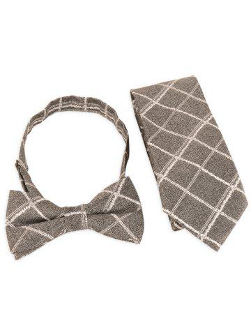 Buy 7CM Width Checked Pattern Business Tie and Bowtie