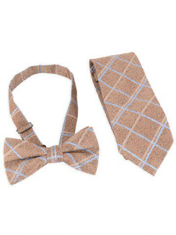 Unique 7CM Width Checked Pattern Business Tie and Bowtie