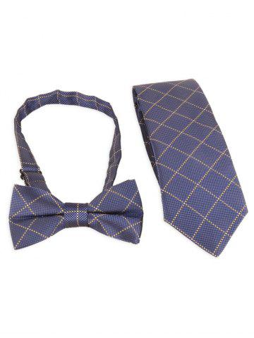 Latest 7CM Width Plaid Pattern Shirt Tie and Bowtie Set