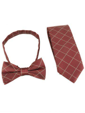 7CM Width Plaid Pattern Shirt Tie and Bowtie Set