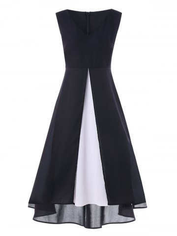 Chic Color Block Sleeveless Maxi Dress