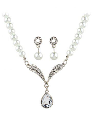 Affordable Faux Pearl Rhinestoned Teardrop Wedding Jewelry Set