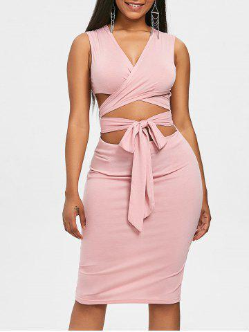Discount Self Tie Low Cut Bodycon Dress